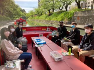 4月の現地視察で松川遊覧船に乗船させてもらいました